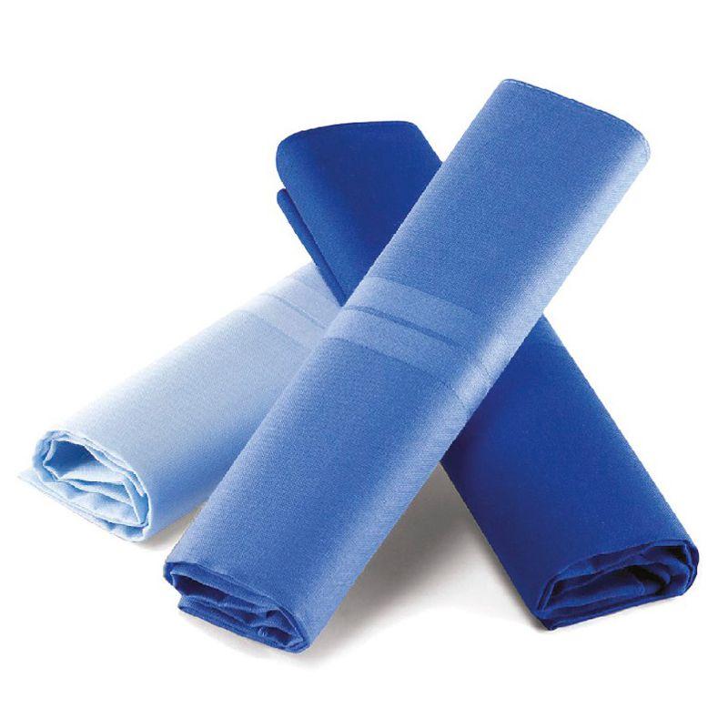 Lenço Masculino Lupo Puro Algodão C/3 41x41 cm - Tons Azul LU23100-089