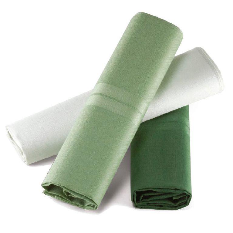 Lenço Masculino Lupo Puro Algodão C/3 41x41 cm - Tons Verde
