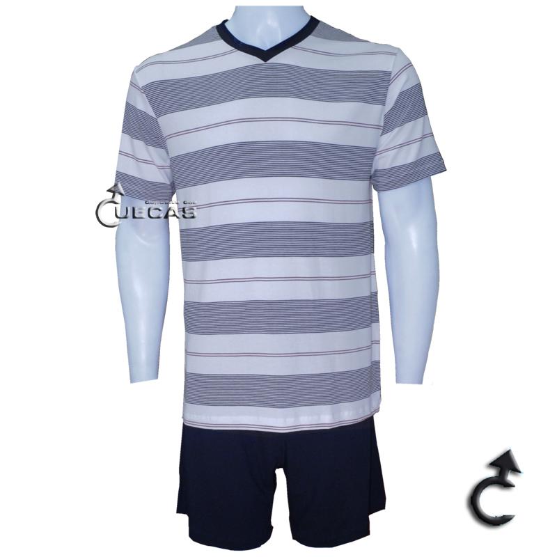 Pijama Curto Modal Listrado Fitswell - 11251