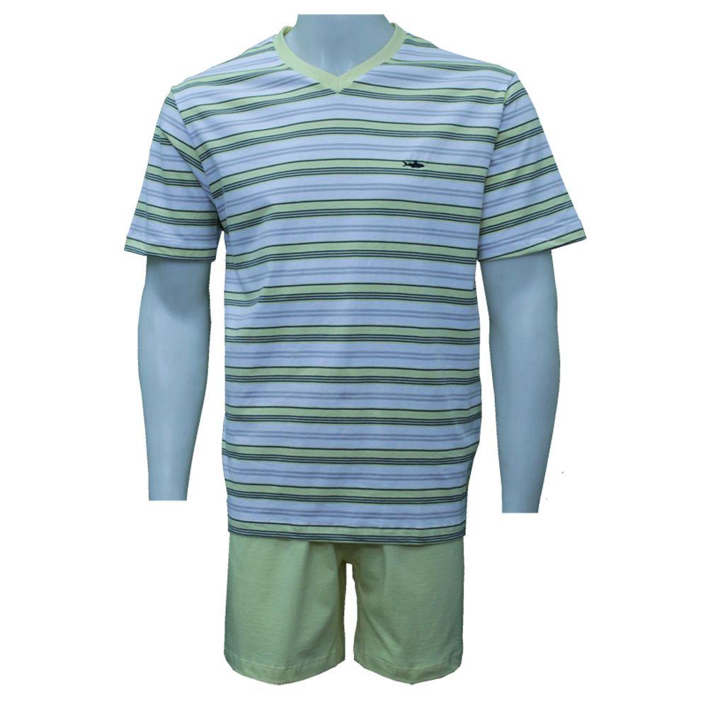 Pijama Fitswell Curto 100% Algoão Fio Tinto - 11006