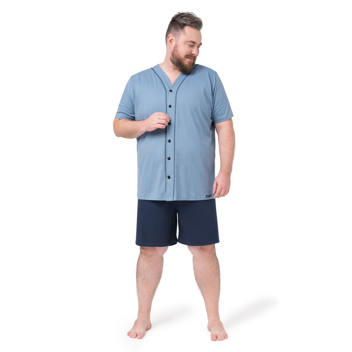 Pijama Masculino Curto Aberto Tamanhos Especiais Plus Size 05.02.013
