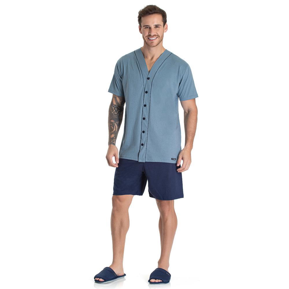 Pijama Masculino Curto Aberto Toque Slepwear Azul 09.02.012