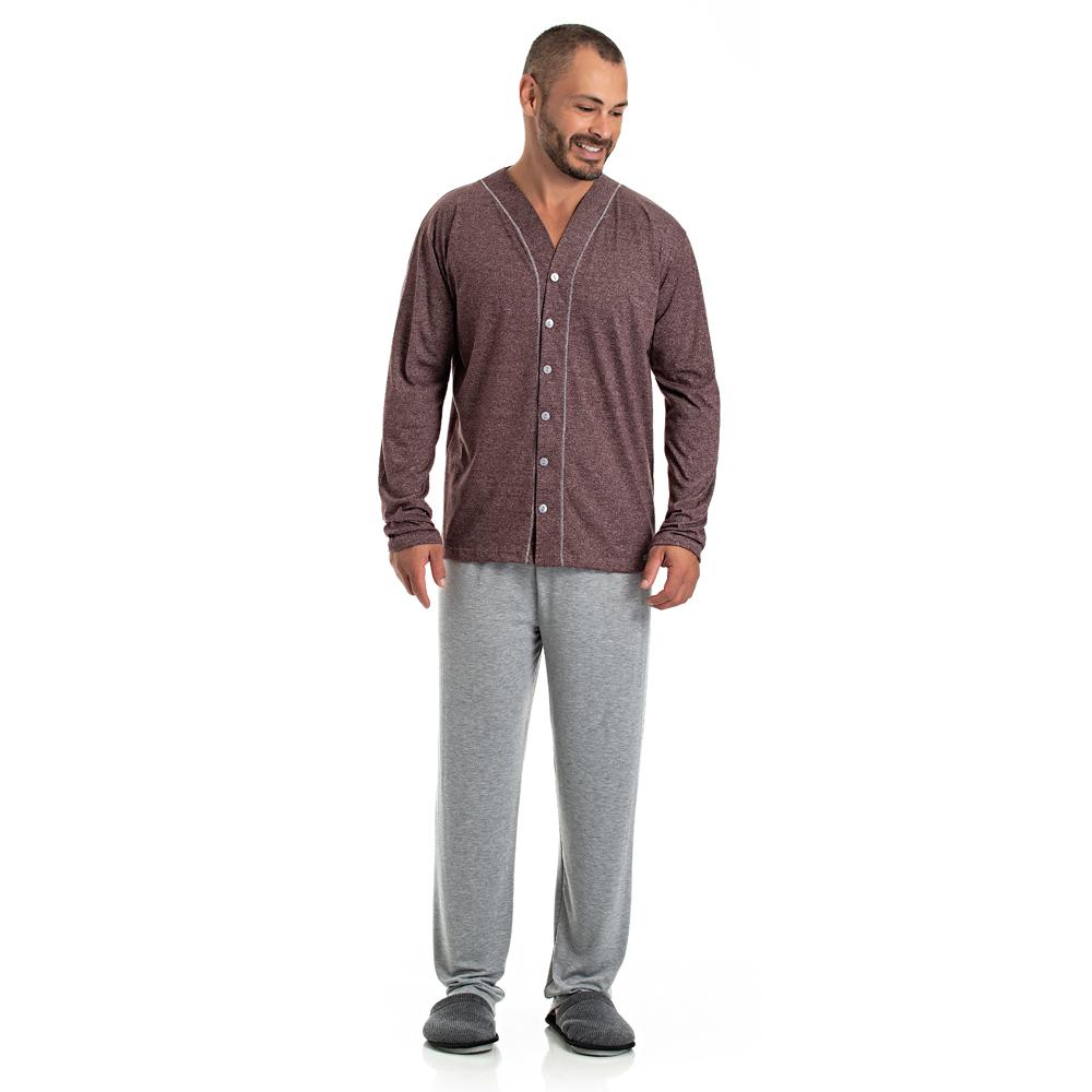 Pijama Masculino Longo Aberto - 08.02.013 Bordo