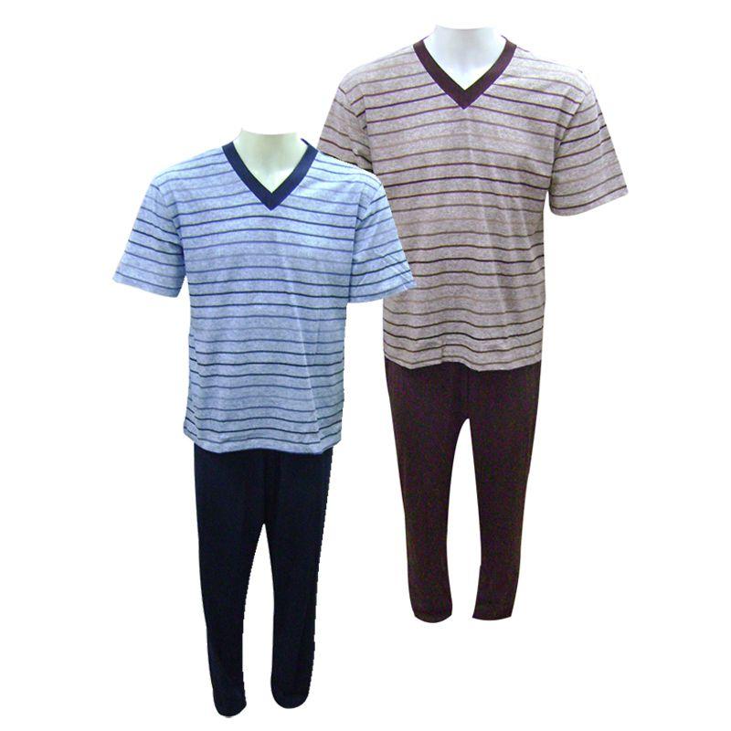 Pijama Masculino Longo Manga Curta Barone - 13023