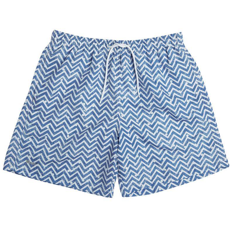 Shorts Beachwear Zig Zag Mash - Azul Claro - 613.13