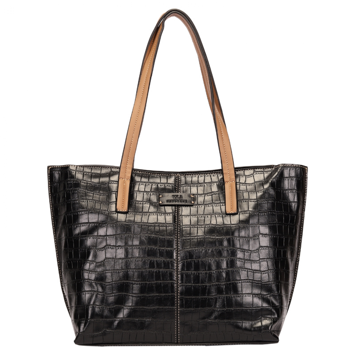 BOLSA SHOPPING BAG CROCO COM RECORTE PRETO