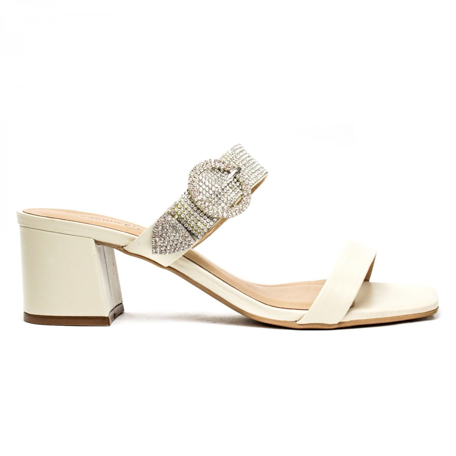 MULE SALTO TIRAS STRASS OFF WHITE
