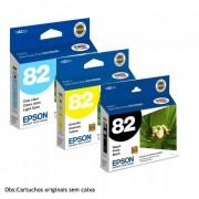 Kit c/ 3 Cartuchos Epson Originais T0821/4/5 Black/ Yellow/ Cyan Ligth ´Sem caixa´