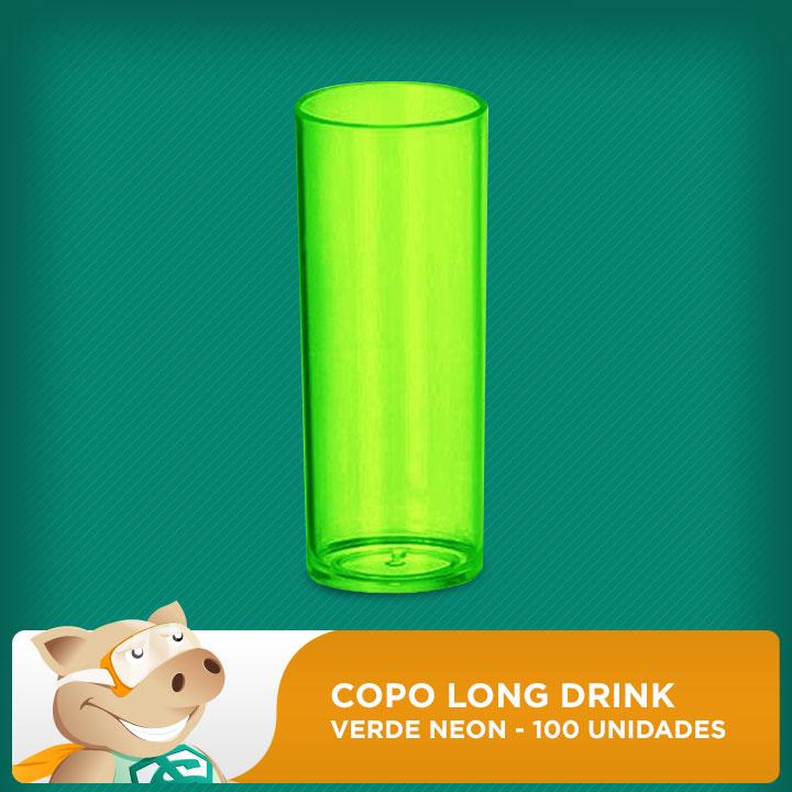 Copo Long Drink Verde Neon 100 Unidades  - ECONOMIZOU