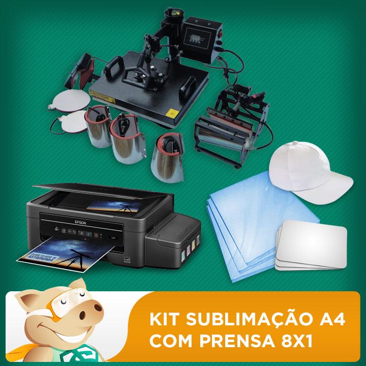 Kit sublimação A4 + 8x1 c/L395 (prensa 8x1 + impressora A4 +  suprimentos + perfil de cores GRATIS   - ECONOMIZOU
