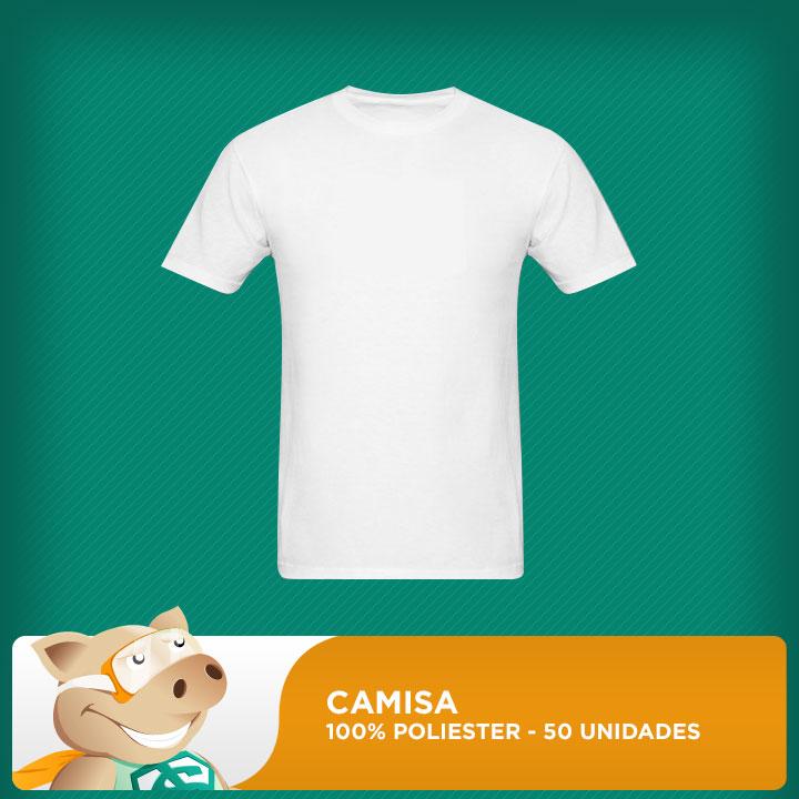 Camisa Branca 100% Poliéster 30.1 -  50 unidades  - ECONOMIZOU