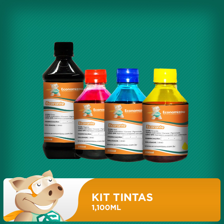 Kit Tintas Corantes Epson 1,100ml (500ml preta e 200ml demais cores)  - ECONOMIZOU