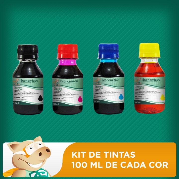 Kit Tintas Pigmentadas Epson 100ml de cada cor   - ECONOMIZOU