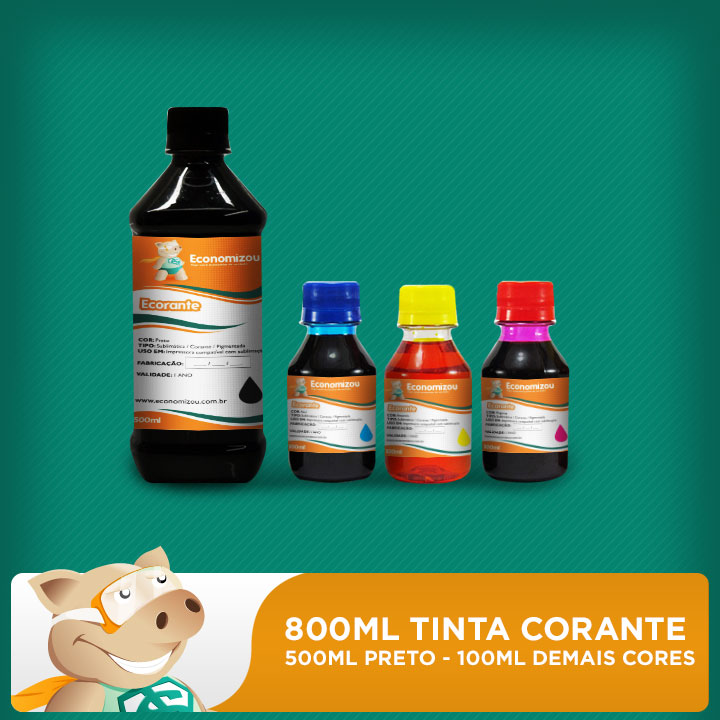 Kit Tintas Corantes Epson 800ml (500ml preta e 100ml demais cores)  - ECONOMIZOU