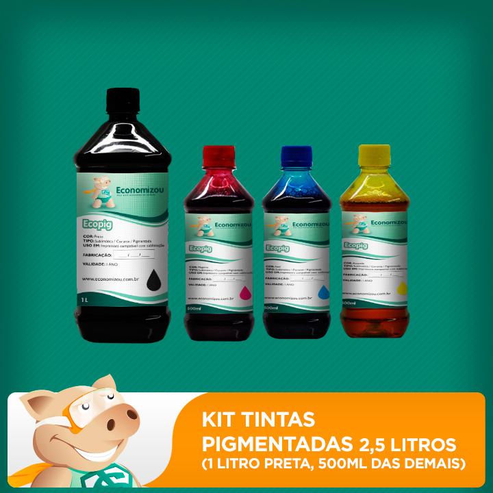 Kit Tintas Pigmentadas Epson 2,5L (1L preta e 500ml demais cores)  - ECONOMIZOU