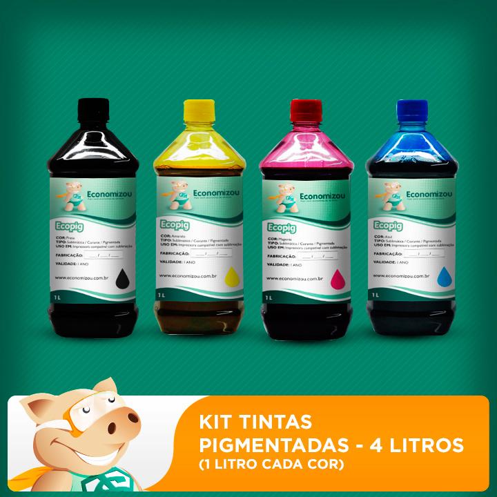 Kit Tintas Pigmentadas Epson 1 litro de cada cor  - ECONOMIZOU