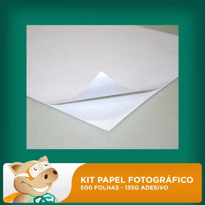Kit papel fotográfico 500 folhas 135gr A4 Adesivo (Resistente à água)   - ECONOMIZOU
