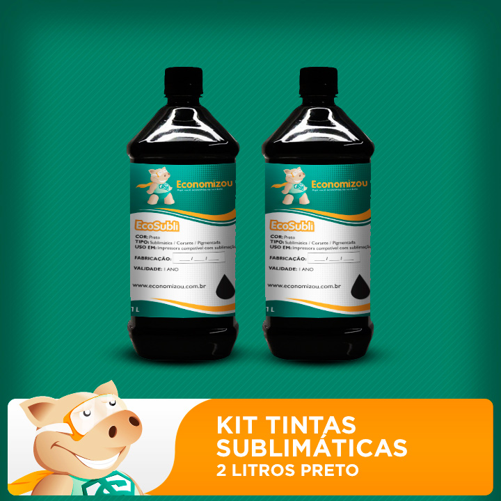 Kit Tintas Sublimáticas Epson 2 litros de Preto  - ECONOMIZOU