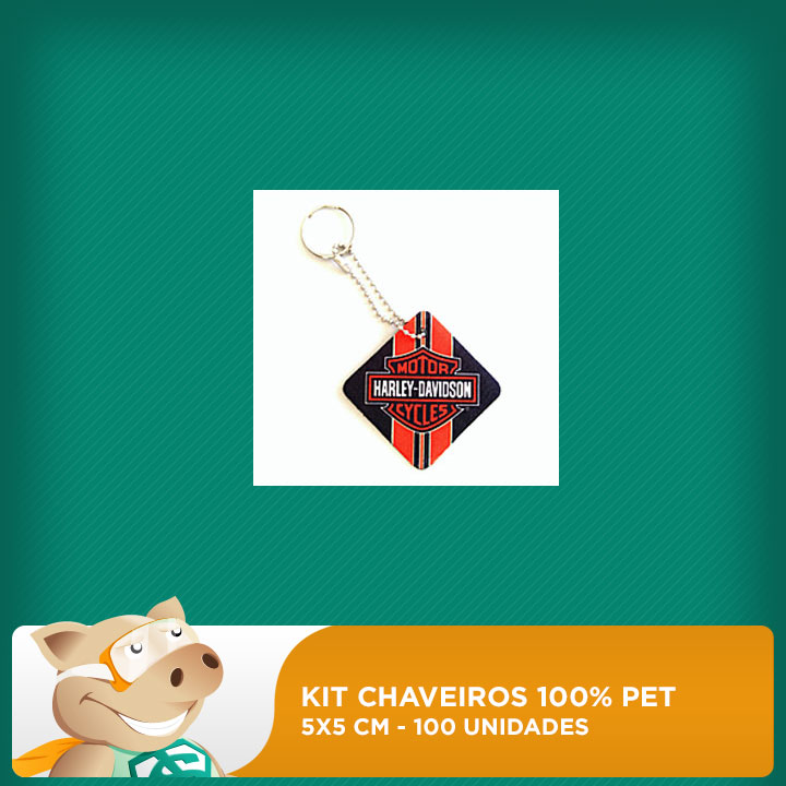Kit Chaveiro 100% PET - Quadrado - 5x5cm - 100 unidades  - ECONOMIZOU