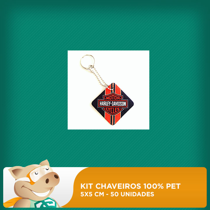 Kit Chaveiro 100% PET - Quadrado - 5x5cm - 50 unidades  - ECONOMIZOU