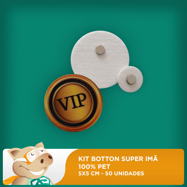 Botton Super Imã - 100% PET - Redondo - 5x5 cm - 50 unidades  - ECONOMIZOU