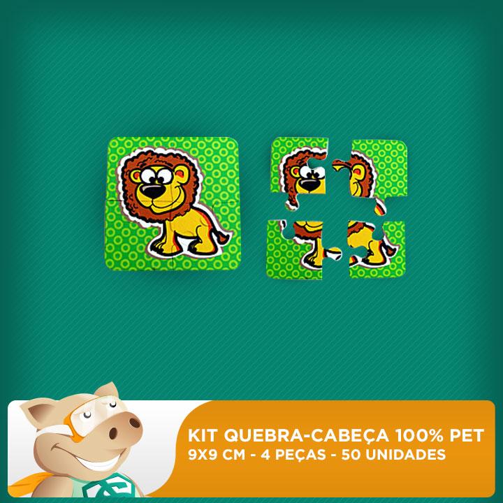 Kit Mini Quebra-cabeça 100% PET - 9 x 9 cm - 4 Peças - 50 unidades  - ECONOMIZOU