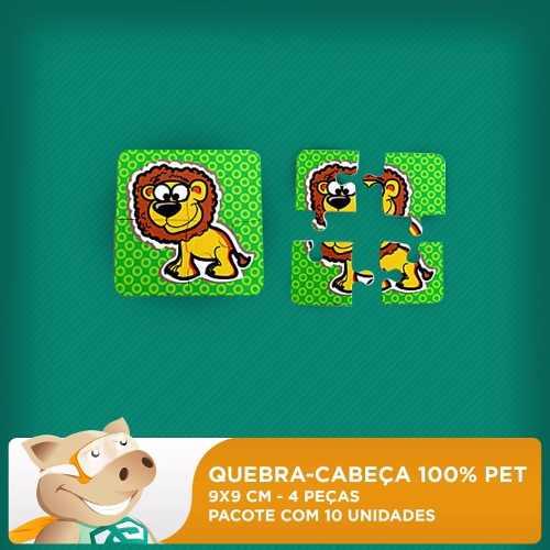 Mini Quebra-cabeça 100% Pet - 4 Peças-  50 unidades - 5 pacotes com 10 unidades  - ECONOMIZOU