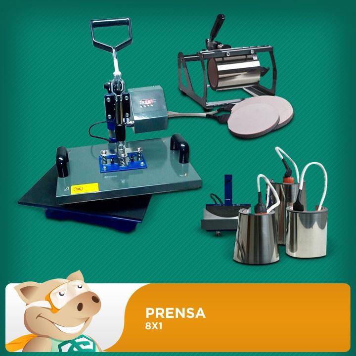 Prensa Térmica 8x1 - 29x38 cm - faz mais de 200 fotoprodutos  - ECONOMIZOU