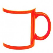 Caneca de cerâmica  laranja com tarja