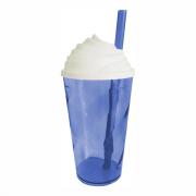 Copo Chantilly Azul c/ Tampa branca - 300 ml