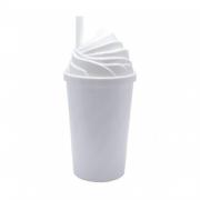 Copo Chantilly branco c/ tampa branca - 300 ml