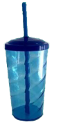 Copo Twister Azul Transparente