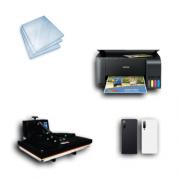Kit Sublimação Iniciante A3 (Prensa 40x60 + Impressora Epson L3150 + 200 Folhas de Papel Sublimático Fundo Azul + 30 Capas de Celular)