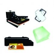 Kit Sublimação A4 (prensa 38x38 + impressora A4 + suprimentos + perfil de cores GRATIS!)