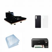 Kit Sublimação Iniciante A3 (Prensa 40x60 + Impressora Epson L3250 + 200 Folhas de Papel Sublimático Fundo Azul + 30 Capas de Celular)