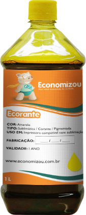 1 Litro Tinta Corante HP, LEX e CANON Amarela (Yellow)  - ECONOMIZOU