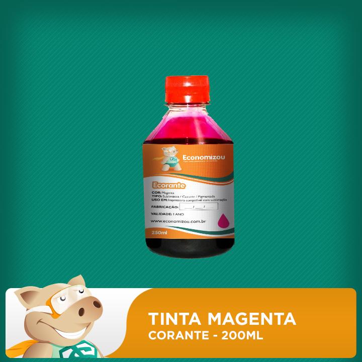 200ml Tinta Corante HP, LEX, CANON Vermelha (Magenta)  - ECONOMIZOU