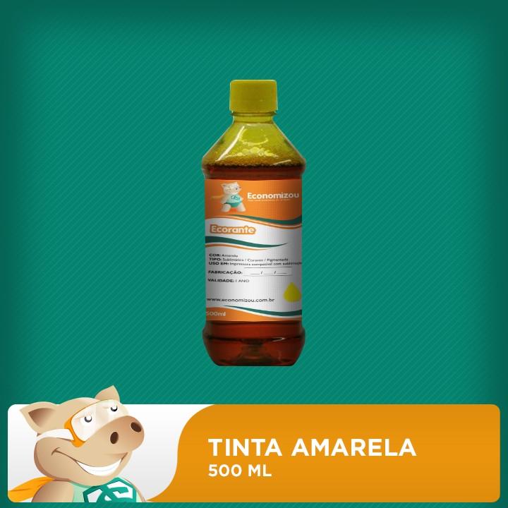500ml Tinta Corante HP, LEX e CANON Amarela (Yellow)  - ECONOMIZOU