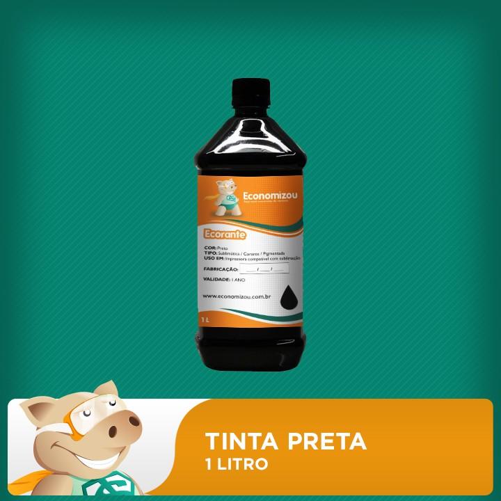 1 Litro Tinta Corante HP, LEX e CANON Preta (Black)  - ECONOMIZOU