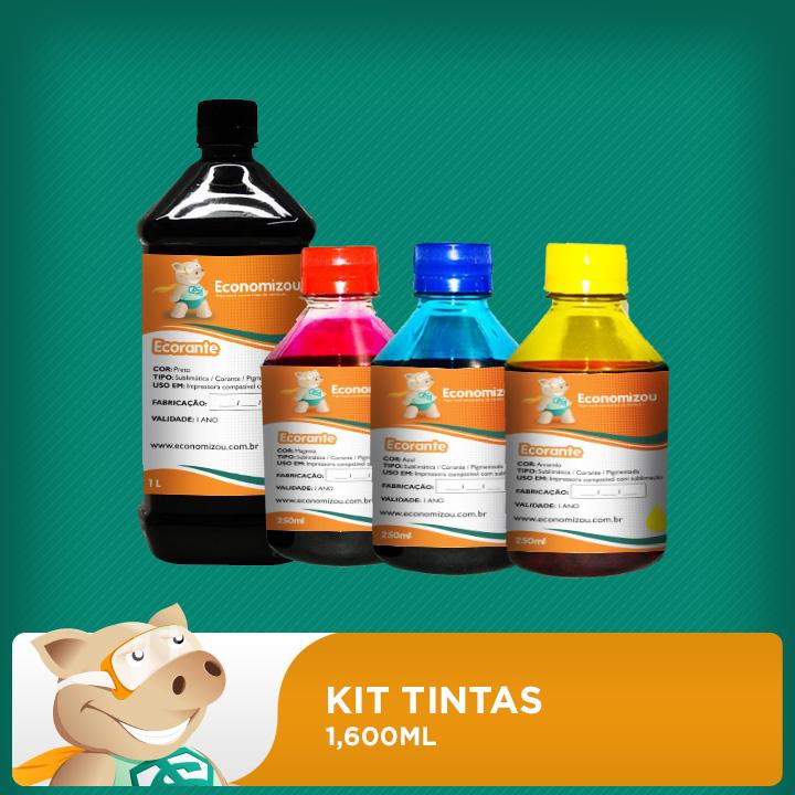 Kit  Tintas Corantes HP, LEX e CANON  1,600ml (1 litro preta e 200ml demais cores)   - ECONOMIZOU