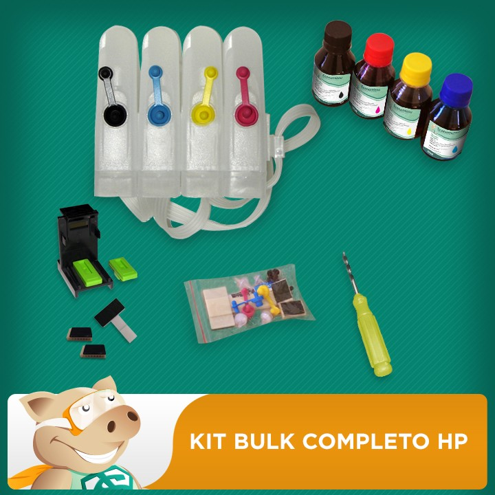 Bulk Completo HP + 400ml Tinta + Video + Verruma + Snapfill  - ECONOMIZOU