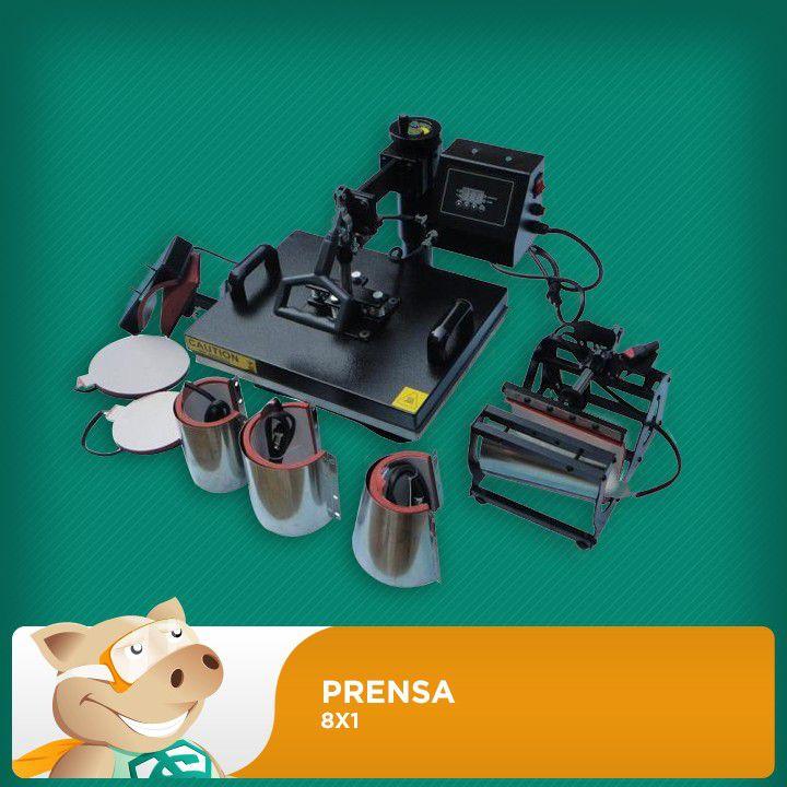 Prensa Térmica 8x1- 38x38 - Para Sublimação/Transfer Plana  - ECONOMIZOU