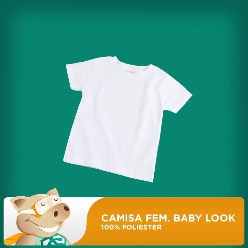Camisa Baby Look Branca P/sublimação/qualidade/envio Rápido!  - ECONOMIZOU
