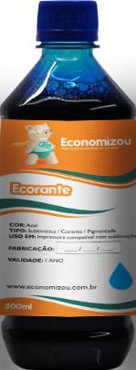 500ml Tinta Corante  HP, LEX e CANON Azul (Cyan)  - ECONOMIZOU