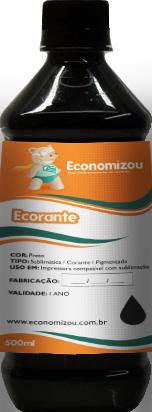500ml Tinta Corante HP, LEX e CANON Preta (Black)  - ECONOMIZOU
