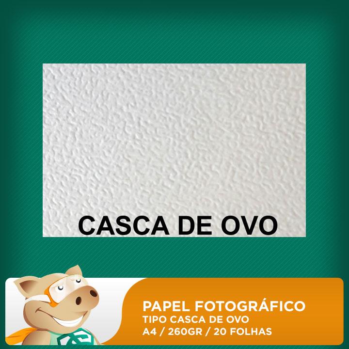 Papel Fotográfico 20 folhas 260gr A4 texturado tipo: casca de ovo (Resistente à água)  - ECONOMIZOU