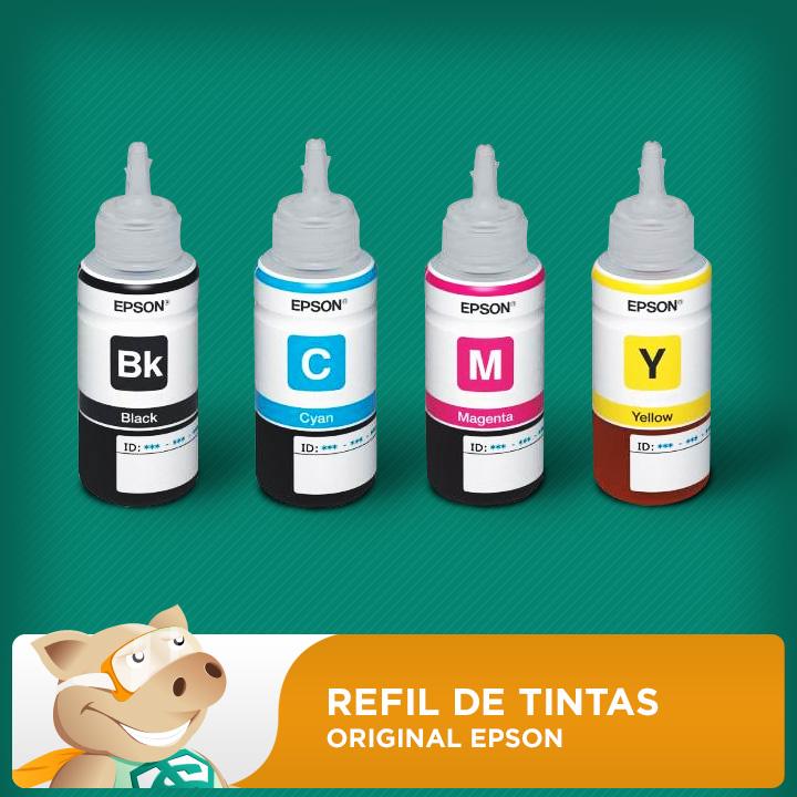 Refil Tintas Corantes Original KIT com 4 cores (Azul, Amarelo, Preto e Vermelho) (COD 664)  L120/L200/L210/L355/L365/L375/L395  - ECONOMIZOU