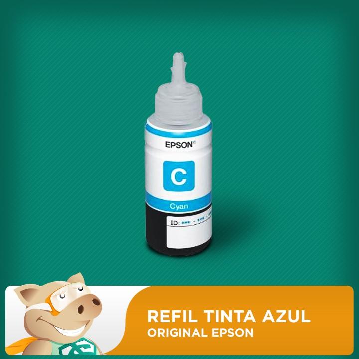 Refil Tinta Corante Epson Original Azul  (Cyan) (COD 664) L120/L200/L210/L355/L365/L375/L395  - ECONOMIZOU