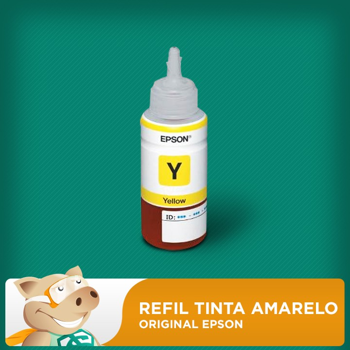 Refil Tinta Corante Epson Original Amarela (Yellow) (COD 664) L120/L200/L210/L355/L365/L375/L395  - ECONOMIZOU