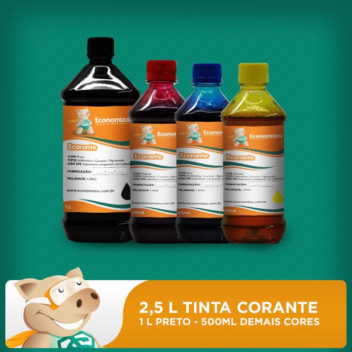 Kit Tintas Corantes HP, LEX e CANON 2,5L (1L preta e 500ml demais cores)  - ECONOMIZOU